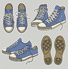 帆布鞋矢量图