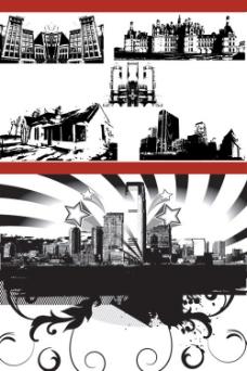 城市建筑黑白剪影——矢量素材