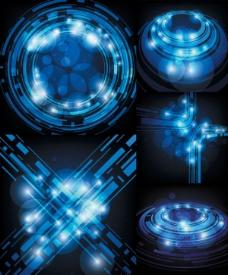 科技感蓝色光线矢量素材