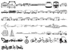 各种剪影元素矢量素材-交通类(57个元素)
