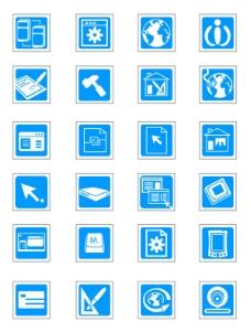 精致蓝色科技矢量图标——矢量素材