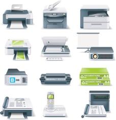 办公设备图标矢量素材