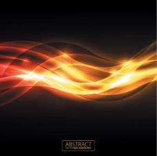 橙色炫光背景矢量素材-3