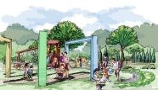 儿童游乐区透视效果图图片