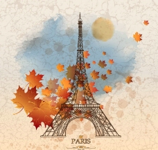 秋意巴黎鐵塔插畫圖片