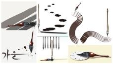 毛笔系列矢量素材
