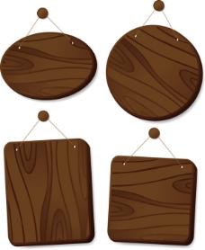 精美木板吊牌05—矢量素材