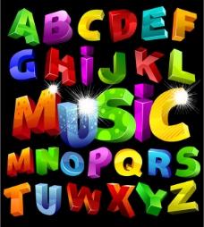 五颜六色立体英文字母矢量素材