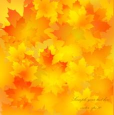 金色秋叶背景矢量素材-2
