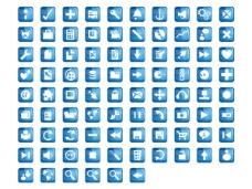 蓝色水晶网页设计常用图标png