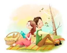 可爱卡通小情侣PSD素材