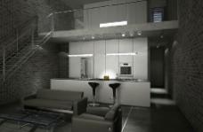 双层现代酒吧3D模型