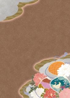 花篮布纹褐色背景图