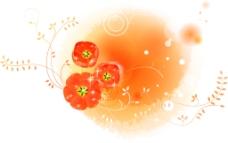 橙色背景衬红花枝叶图层