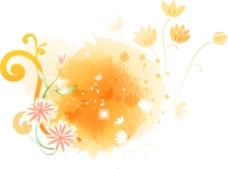 橙红衬对称花型点缀图层源文件
