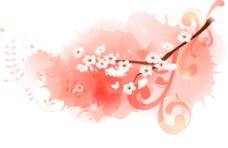 梅花枝叶效果衬玫红背景图层