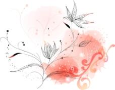 枫叶反色衬玫红背景图层