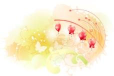 红色吊笼花衬金黄背景图层