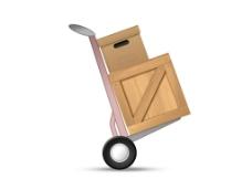 手推车推木箱纸箱图片