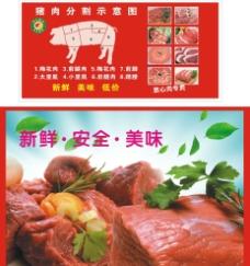 豬肉分割圖圖片