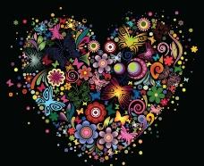 爱心鲜花蝴蝶图片