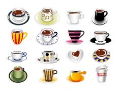 精美的各式咖啡杯矢量素材