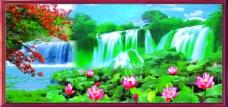 自然风景瀑布背景墙