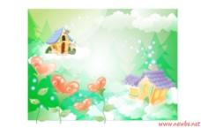 心形花朵和小房子