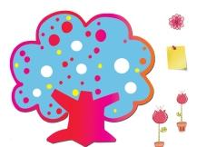 树木 花朵 卡通