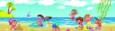 儿童沙滩游玩图片