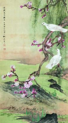 桃花双鸽图片
