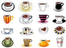 精美的各式咖啡杯——矢量素材