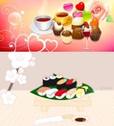 寿司与糕点咖啡矢量素材