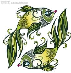 双鱼 小鱼 花纹图片