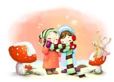 可爱卡通矢量小情侣儿童PSD素材源文件